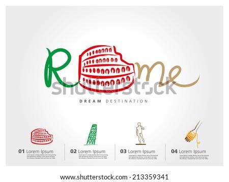 Italy travel set, Pisa, Rome, Colosseum, typography - stock vector