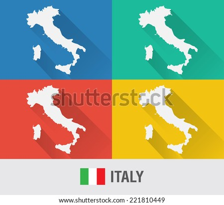 Italy world map in flat style with 4 colors. Modern map design.