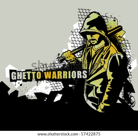 Item from Ghetto Warriors vector collection. Gangster on dirty graffiti background. Vector illustration. - stock vector