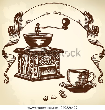 Items for cooking and drinking coffee. Drawing. - stock vector