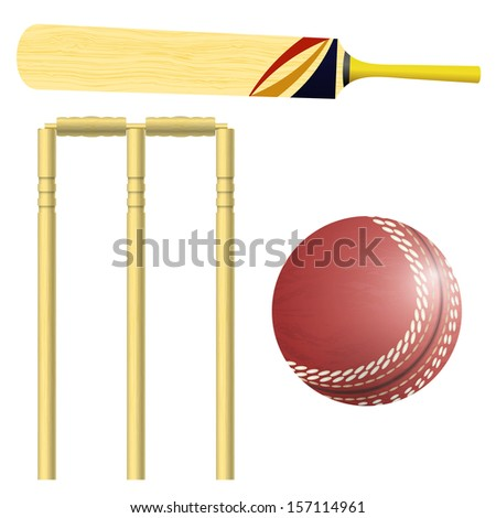 Items for cricket - stock vector