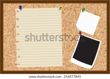 Items pinned to a cork message board - stock vector