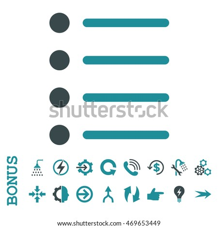 Items vector bicolor icon. Image style is a flat pictogram symbol, soft blue colors, white background.