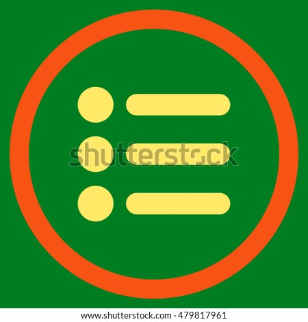 Items vector bicolor rounded icon. Image style is a flat icon symbol inside a circle, orange and yellow colors, green background.