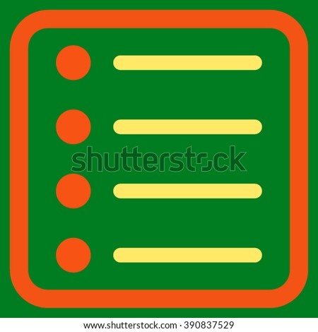 Items vector icon. Style is bicolor flat symbol in a rounded square frame, orange and yellow colors, green background.