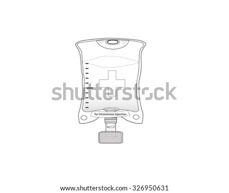 IV bag for intravenous injection drip - medical vector