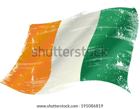 Ivory Coast flag grunge. Ivorian flag with a texture in the win