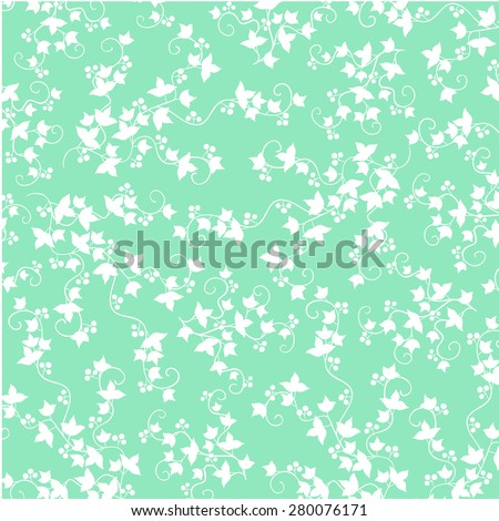Ivy with berries trudging along the wall. vector background - stock vector