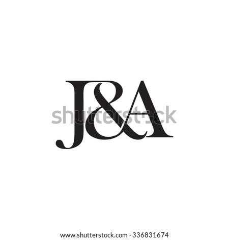 ja initial logo ampersand monogram logo stock vector