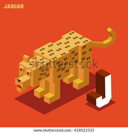 J for Jaguar. Animal Alphabet collection. vector illustration - stock vector