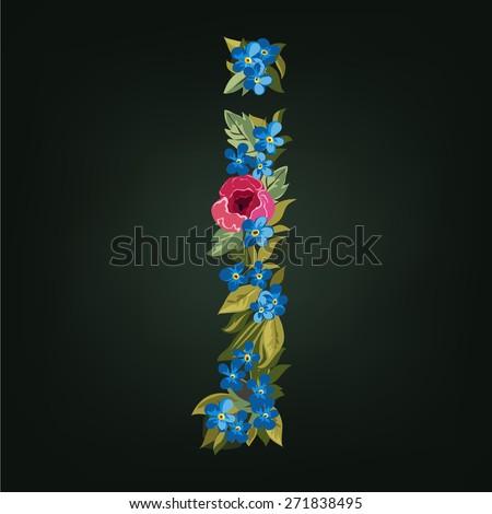 J letter. Flower  alphabet. Colorful font. Lowercase.  Vector illustration. - stock vector