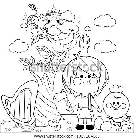 jack and the beanstalk coloring pages - jack magic beanstalk black white coloring stock vector