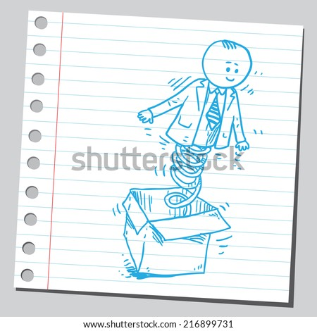 Jack in the box businessman - stock vector