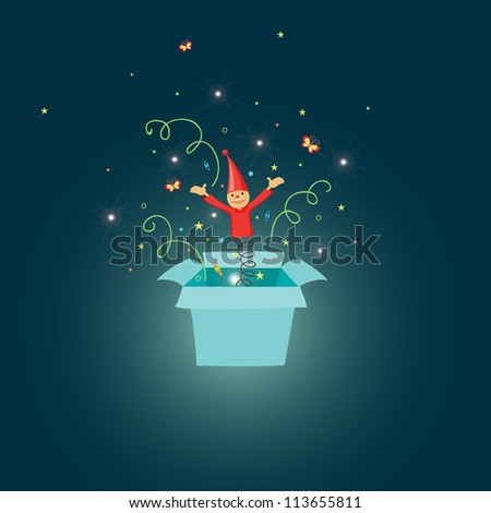 Jack in the box cartoon illustration - stock vector