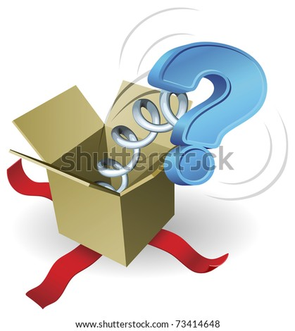 Jack in the box question mark concept. A question mark springing out of a box conceptual illustration. - stock vector