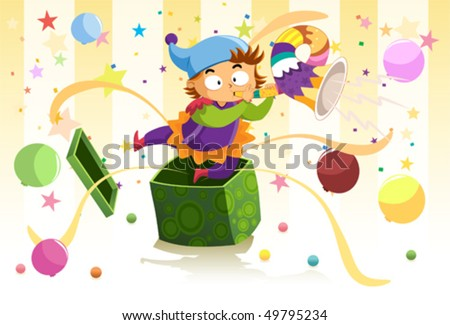 Jack in the box surprise A kid-clown jumps out of a present box blowing the horn and make a surprise. - stock vector