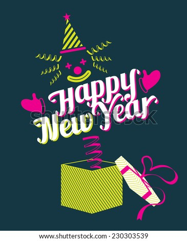 Jack in the Box with Happy New Year Text - stock vector