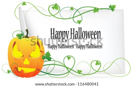 Jack o' Lantern and sheet of paper on a white background - stock vector