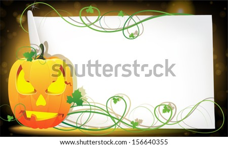 Jack o' Lantern and sheet of paper on abstract sparkling  background - stock vector