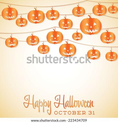 Jack O' Lantern Halloween string card in vector format. - stock vector