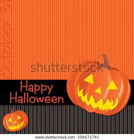 Jack o lantern Happy Halloween card in vector format. - stock vector