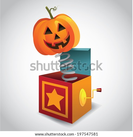 Jack-O-Lantern in the box. EPS 10 vector. - stock vector