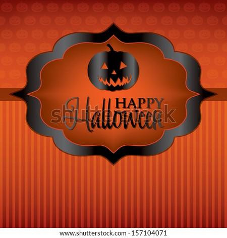 Jack o' Lantern label Halloween card in vector format. - stock vector