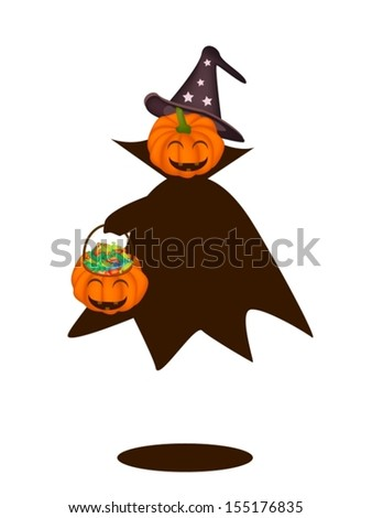 Jack-o-Lantern Pumpkin in Halloween Costume Holding Hand with Hard Candy Basket, For Halloween Celebration  - stock vector