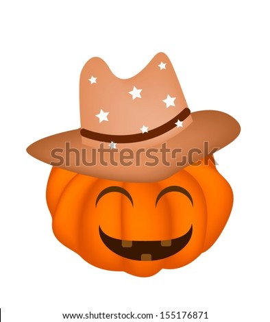 Jack-o-Lantern Pumpkin Wearing A Brown Cowboy Hat Isolated on White Background, For Halloween Celebration  - stock vector