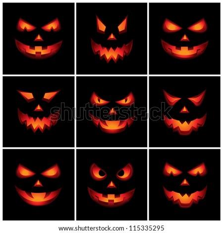 Jack O'Lantern Scary Faces - stock vector