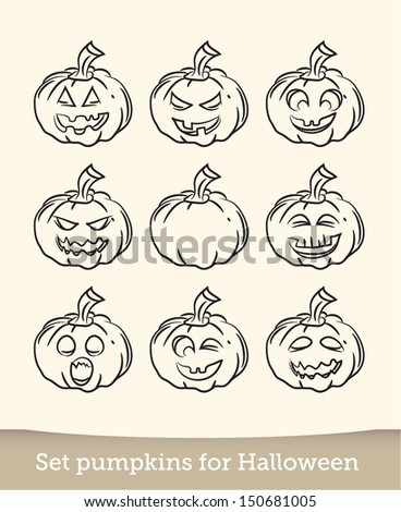 Jack-O-Lantern Sketch Vector Doodle - stock vector