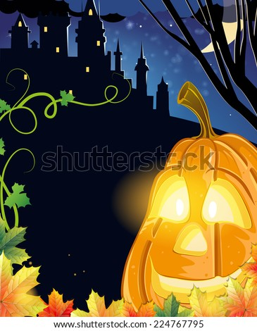 Jack O Lantern with glowing eyes near the old haunted castle. Halloween night scene  - stock vector