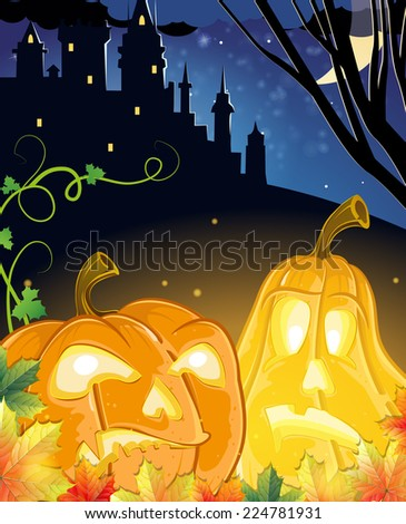 Jack O Lanterns with glowing eyes near the old haunted castle. Halloween night scene  - stock vector