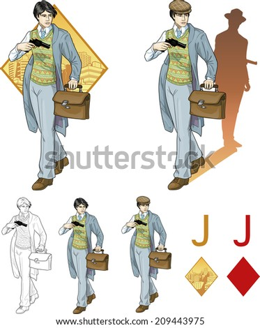 Jack of diamonds asian boy with a gun retro styled comics card character set of illustrations with black lineart - stock vector