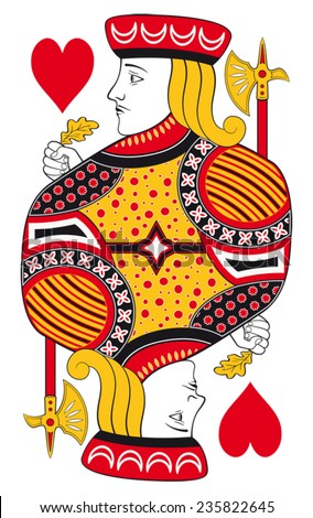 Jack of hearts without playing card background - stock vector