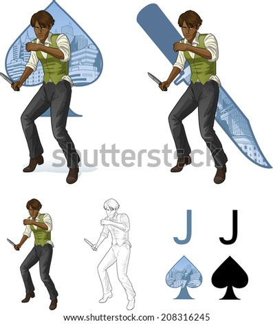 Jack of spades afroamerican brawling man retro styled comics card character set of illustrations with black lineart - stock vector