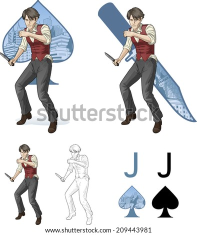 Jack of spades brawling man retro styled comics card character set of illustrations with black lineart - stock vector