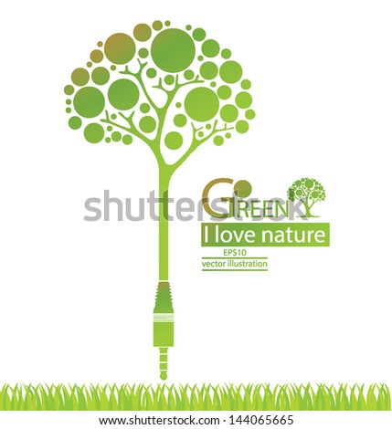 Jack plug. Tree design. Go green. Save world. vector illustration. - stock vector