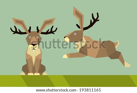 jackalope - flat design simple illustration in the flat style, colors easy to change - stock vector