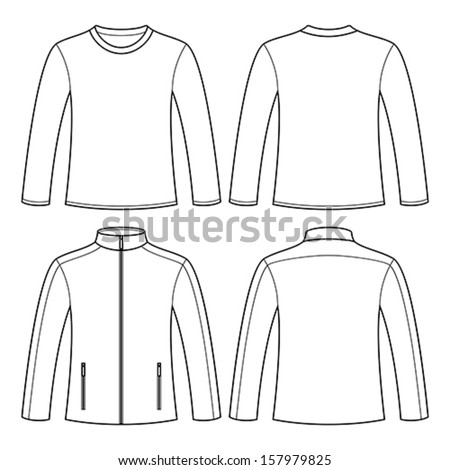 Jacket and Long-sleeved T-shirt isolated on white background - stock vector