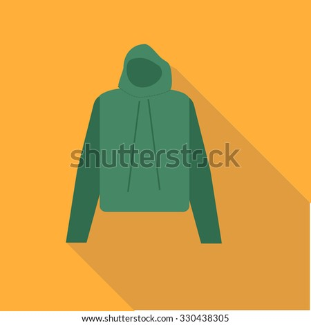 Jacket/Hoody.Vector illustration icon. Flat design style modern vector illustration. Isolated on stylish color background. Flat long shadow icon. Elements in flat design. - stock vector