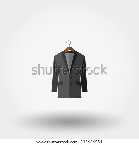 Jacket on a hanger. Icon for web and mobile application. Vector illustration on a white background. Flat design style. - stock vector