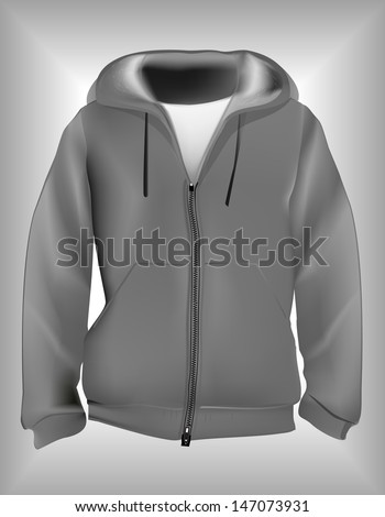 Jacket or hoodie zipped detailed realistic vector. - stock vector
