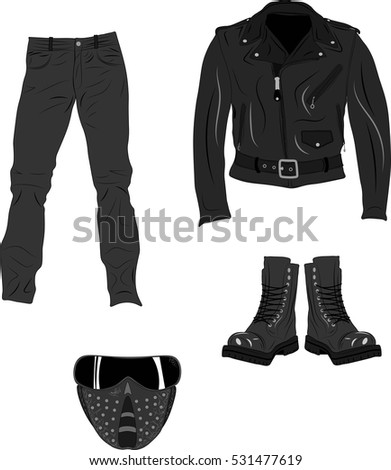 Jacket, pants, boots and mask