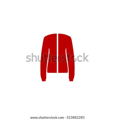 Jacket. Red flat icon. Vector illustration symbol - stock vector