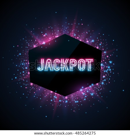 Jackpot advertisement template. Blue, purple and pink dust and beams on dark background. Geometric shape banner with text.
