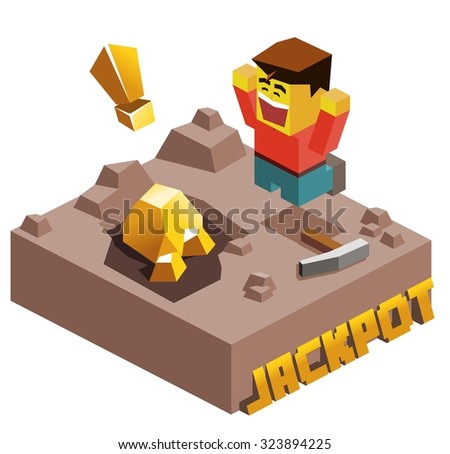 Jackpot, Gold Found. Isometric vector illustration - stock vector