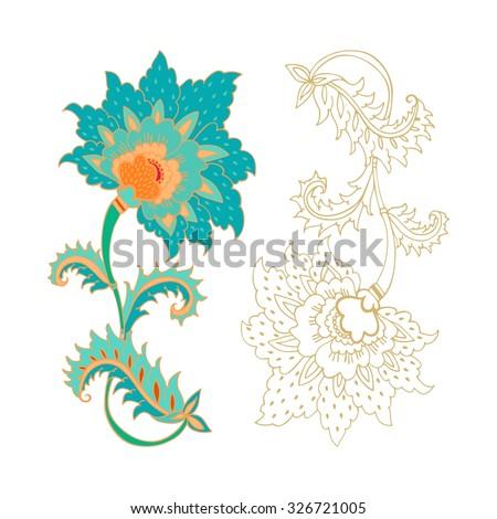 Jacobean flower - stock vector