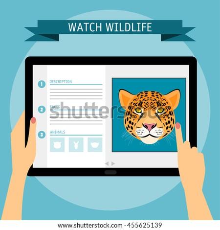Jaguar cartoon portrait and website about wildlife. Digital tablet. Nature, wild animal collection. - stock vector