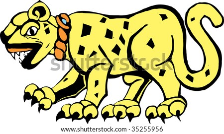 Jaguar rendered in a Mayan mural and pottery style. - stock vector
